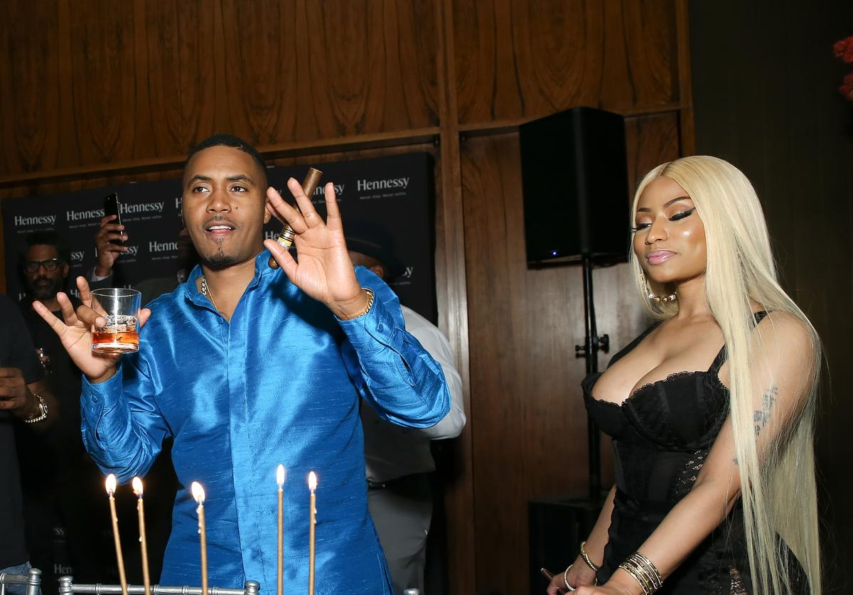 Nas and Nicki Minaj attend hip hop artist Nas' private birthday dinner, presented by Hennessy, the world's best-selling Cognac, at The Pool Lounge in New York City on September 13, 2017. Hennessy celebrates artists such as Nas who continue to push the limits of potential to 'Never stop. Never settle.' Guests enjoyed a variety of Hennessy cocktails including Nas' signature drink - The Big Apple, along with a classic V.S.O.P Privilége Sazerac and X.O on ice.