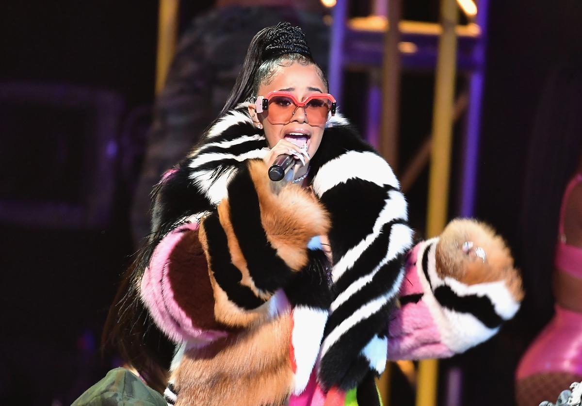 Cardi B performs onstage during the BET Hip Hop Awards 2017 at The Fillmore Miami Beach at the Jackie Gleason Theater on October 6, 2017 in Miami Beach, Florida.