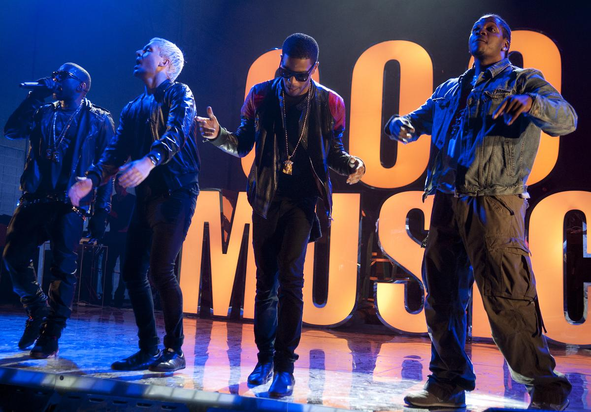 Kanye West, Mr. Hudson, Kid Cudi and Pusha-T perform during VEVO Presents: G.O.O.D. Music at VEVO Power Station on March 19, 2011 in Austin, Texas.
