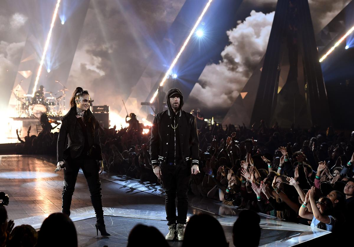 Kehlani and Eminem perform onstage during the 2018 iHeartRadio Music Awards which broadcasted live on TBS, TNT, and truTV at The Forum on March 11, 2018 in Inglewood, California