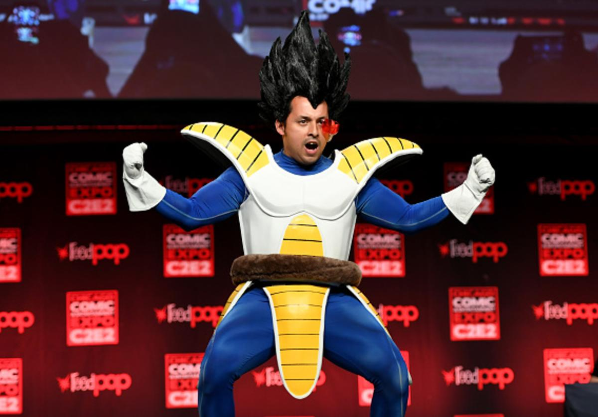A cosplayer dressed as Vegeta from 'Dragon Ball Z' attends the C2E2 Crown Champions of Cosplay at McCormick Place on April 22, 2017 in Chicago, Illinois.