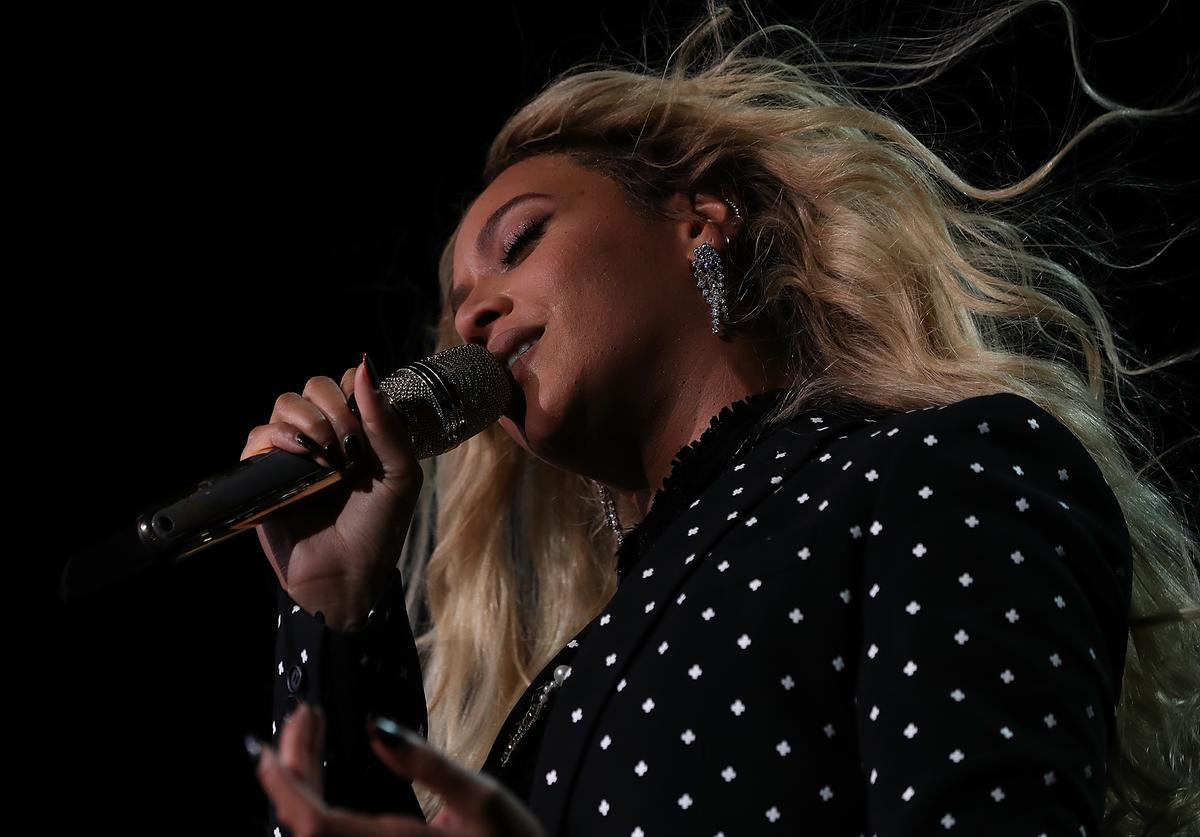 Recording artist Beyonce performs during a Get Out The Vote concert Democratic presidential nominee former Secretary of State Hillary Clinton at Wolstein Center on November 4, 2016 in Cleveland, Ohio. With less than a week to go until election day, Hillary Clinton is campaigning in Pennsylvania, Ohio and Michigan.