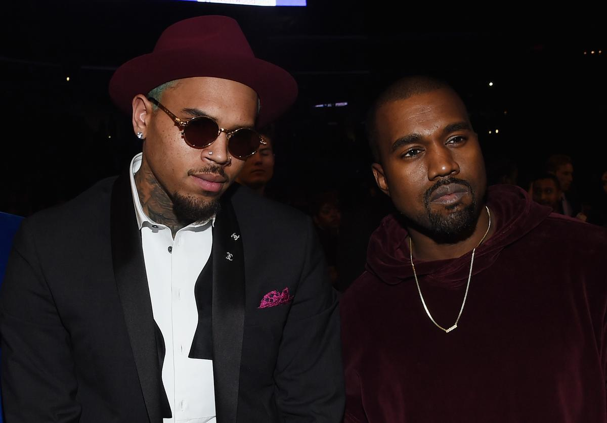 Chris Brown and Kanye West attend The 57th Annual GRAMMY Awards at the STAPLES Center on February 8, 2015 in Los Angeles, California