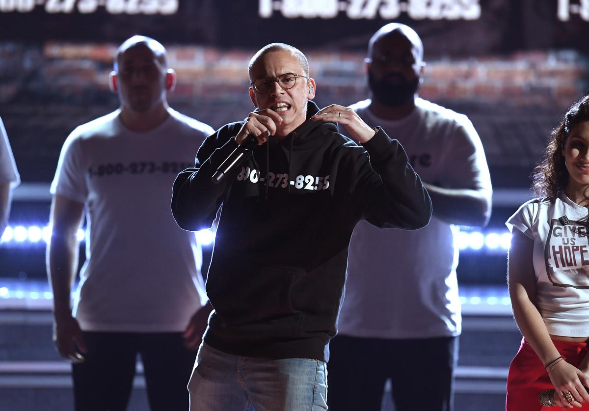Logic performs onstage during the 60th Annual GRAMMY Awards at Madison Square Garden on January 28, 2018 in New York City