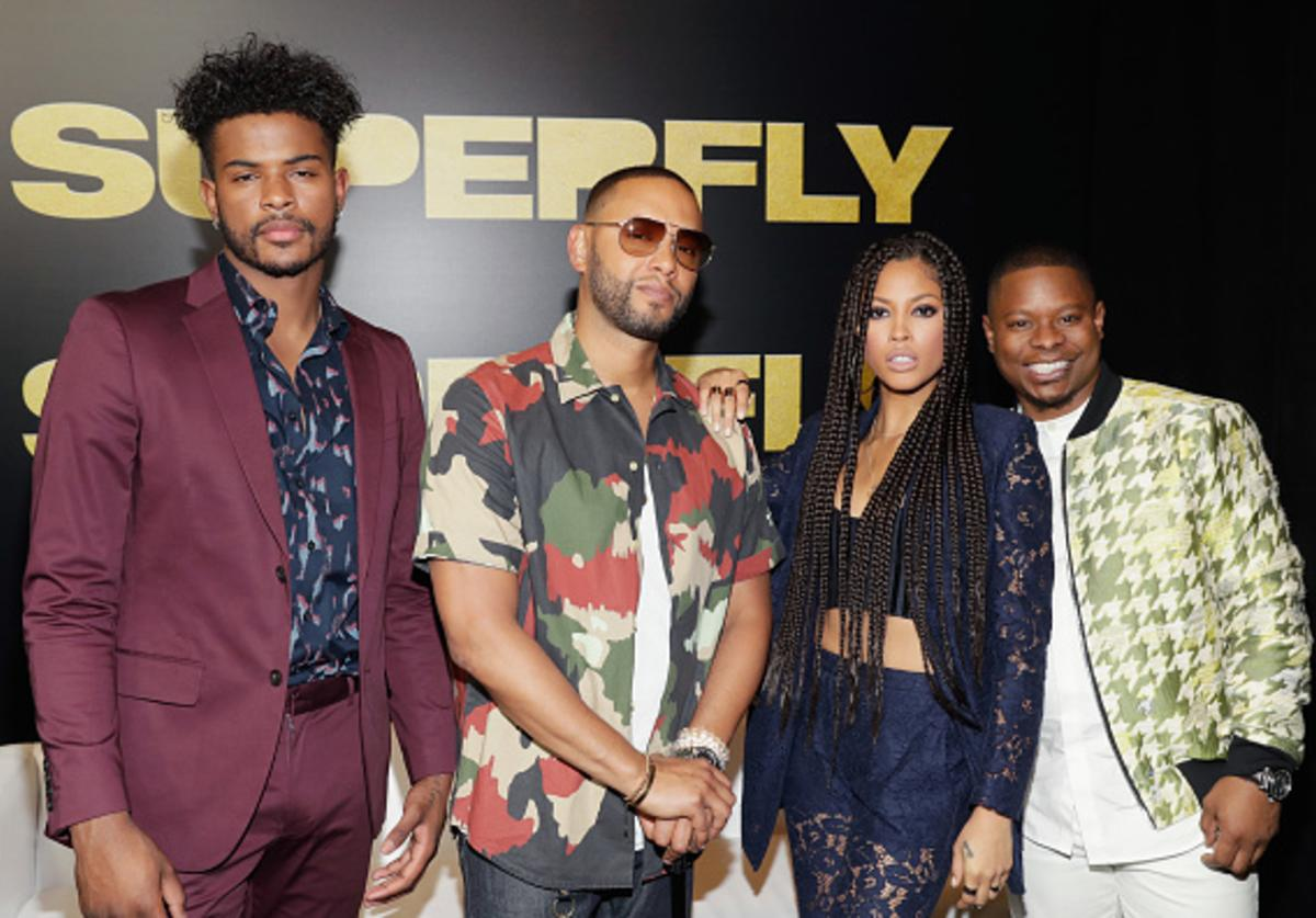 Actor Trevor Jackson, Director X, actors Lex Scott Davis and Jason Mitchell attend the CinemaCon 2018 Gala Opening Night Event: Sony Pictures Highlights its 2018 Summer and Beyond Films at The Colosseum at Caesars Palace during CinemaCon, the official convention of the National Association of Theatre Owners, on April 23, 2018 in Las Vegas, Nevada.