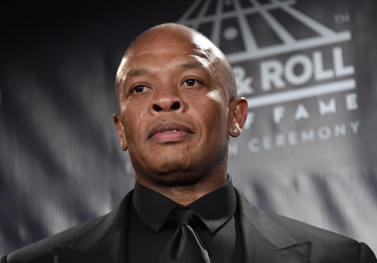 Dr. Dre poses in the 31st Annual Rock And Roll Hall Of Fame Induction Ceremony at Barclays Center on April 8, 2016 in New York City