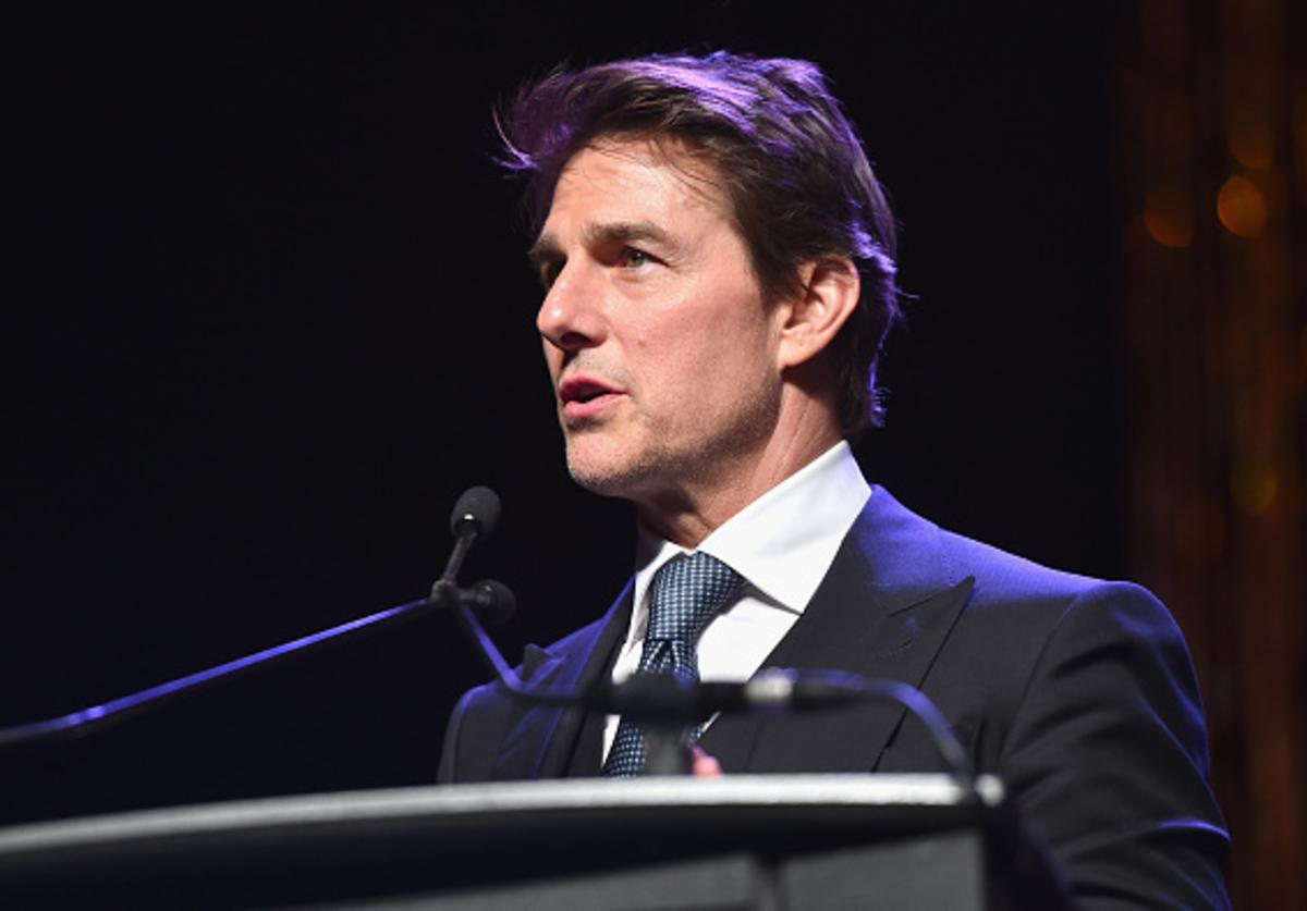 "Pioneer of the Year award recipient Tom Cruise speaks onstage during the 2018 Will Rogers ""Pioneer of the Year"" Dinner Honoring Tom Cruise at Caesars Palace during CinemaCon, the official convention of the National Association of Theatre Owners, on April 25, 2018 in Las Vegas, Nevada."