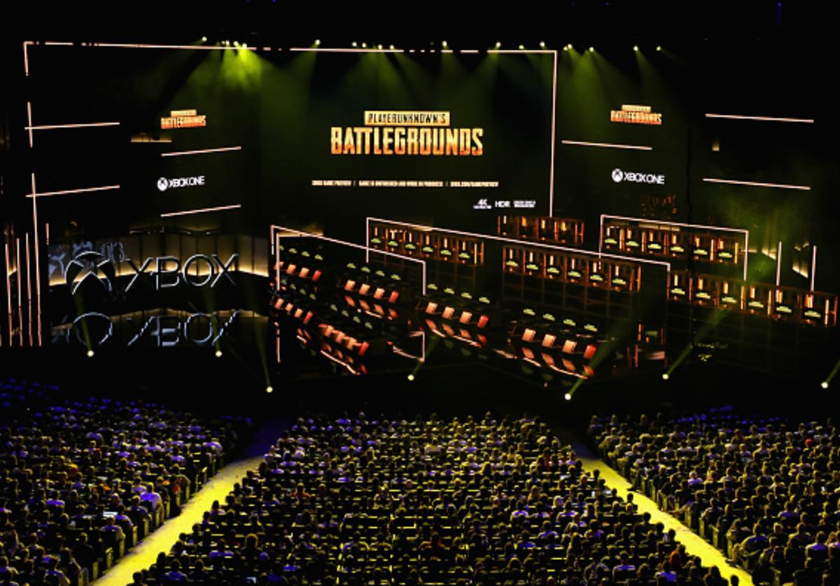 Updates to 'Player Unknown's Battle Ground' by PUBG Corporation are announced during the Microsoft xBox E3 briefing at the Microsoft Theater on June 10, 2018 in Los Angeles, California