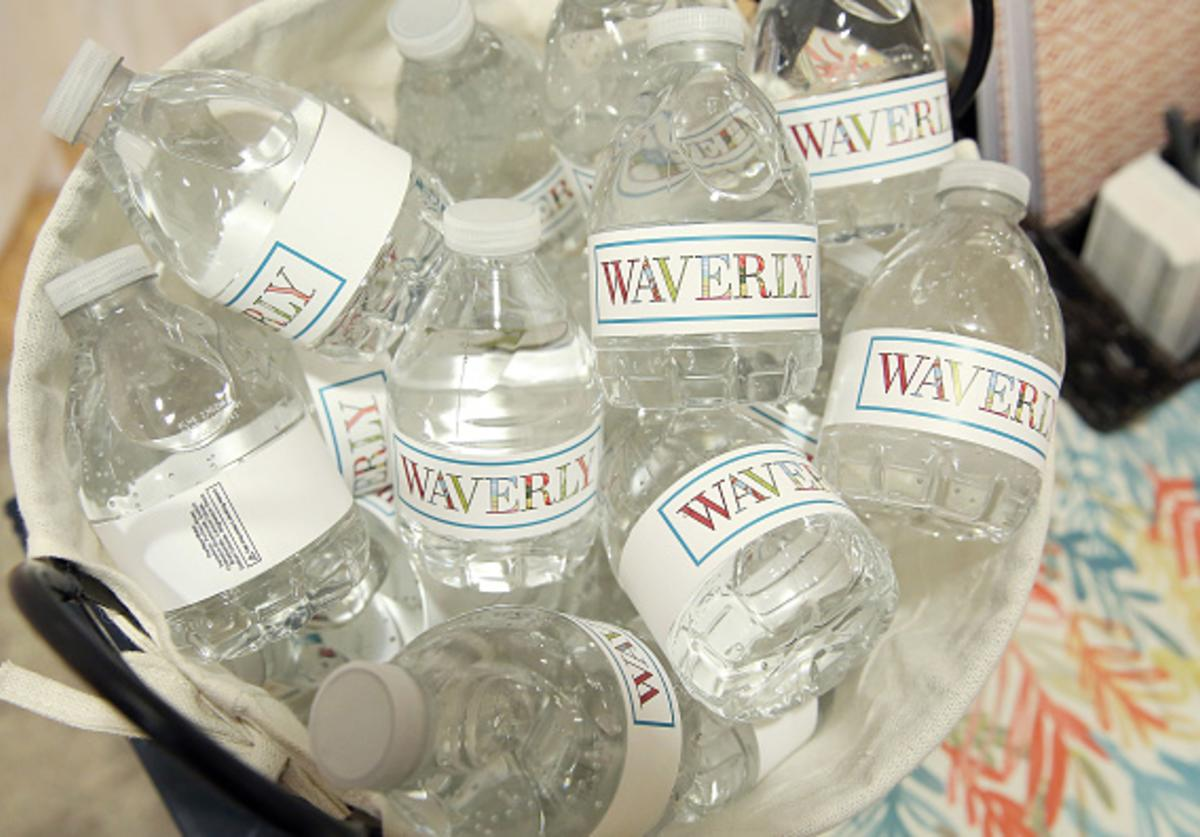 A view of branded water bottles at the Waverly World pop-up at New York's Nourison Showroom on March 16 on March 16, 2018 in New York City.