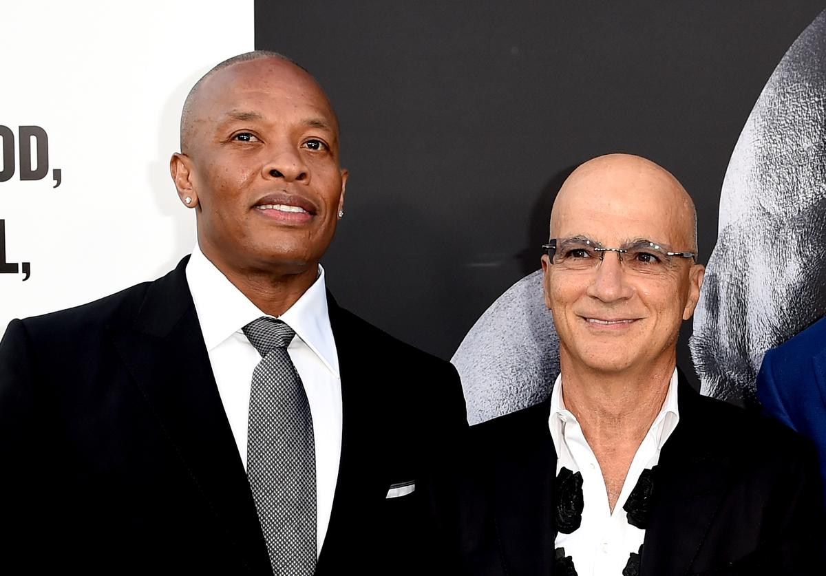 Producers Dr. Dre (L) and Jimmy Iovine arrive at the premiere screening of HBO's 'The Defiant Ones' at Paramount Studios on June 22, 2017 in Los Angeles, California.