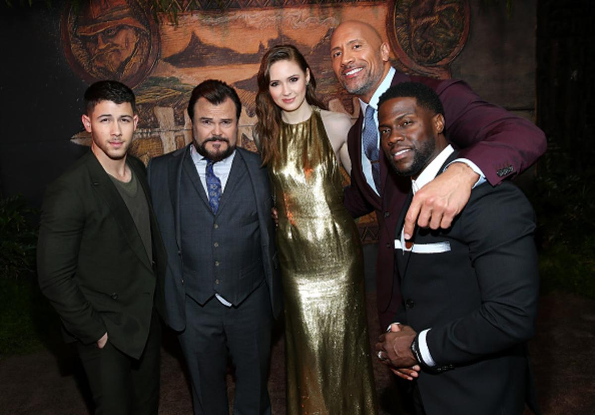 Nick Jonas, Jack Black, Karen Gillan, Dwayne Johnson, and Kevin Hart attend the premiere of Columbia Pictures' 'Jumanji: Welcome To The Jungle' on December 11, 2017 in Hollywood, California.