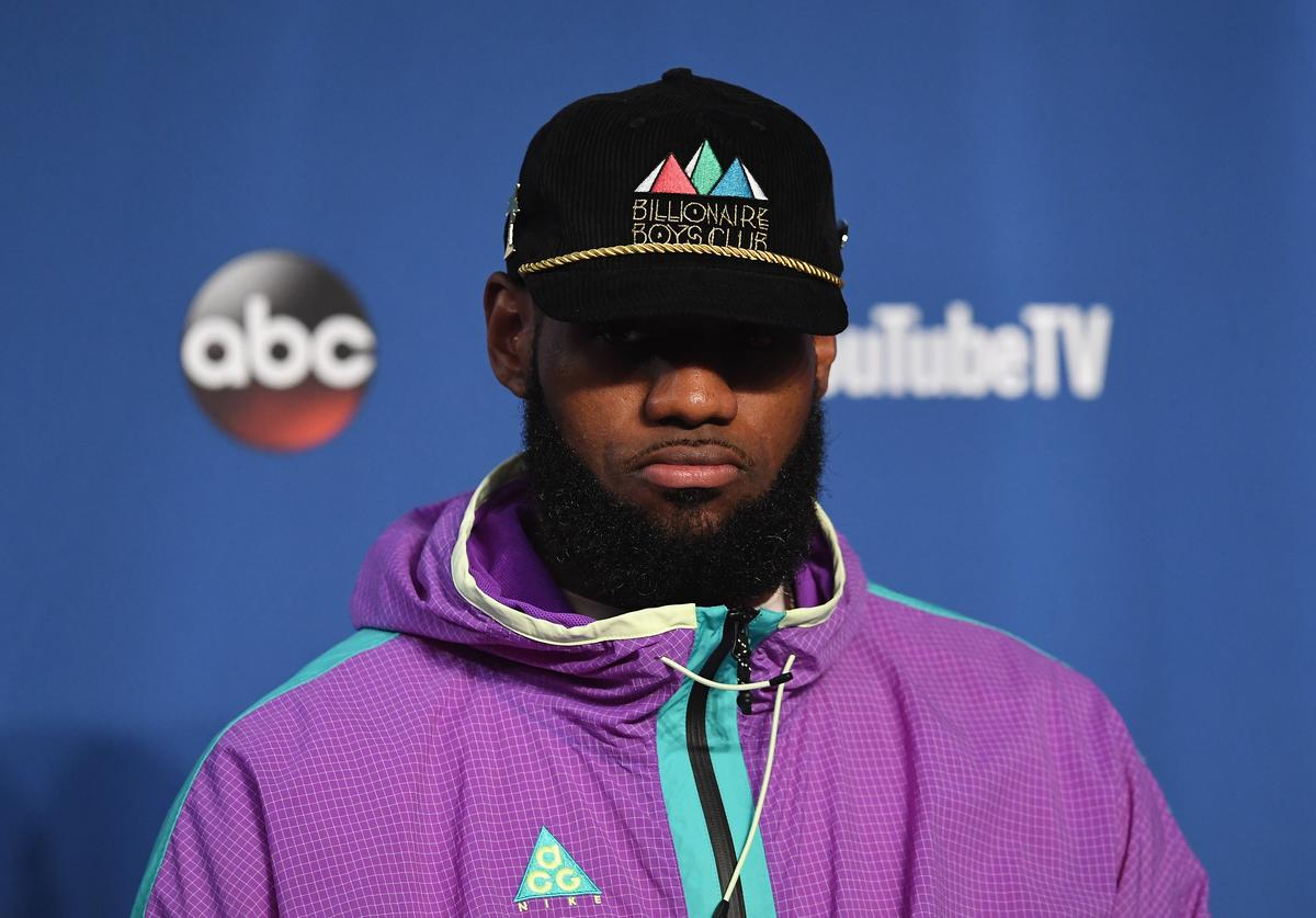 LeBron James #23 of the Cleveland Cavaliers speaks to the media after being defeated by the Golden State Warriors during Game Three of the 2018 NBA Finals at Quicken Loans Arena on June 6, 2018 in Cleveland, Ohio