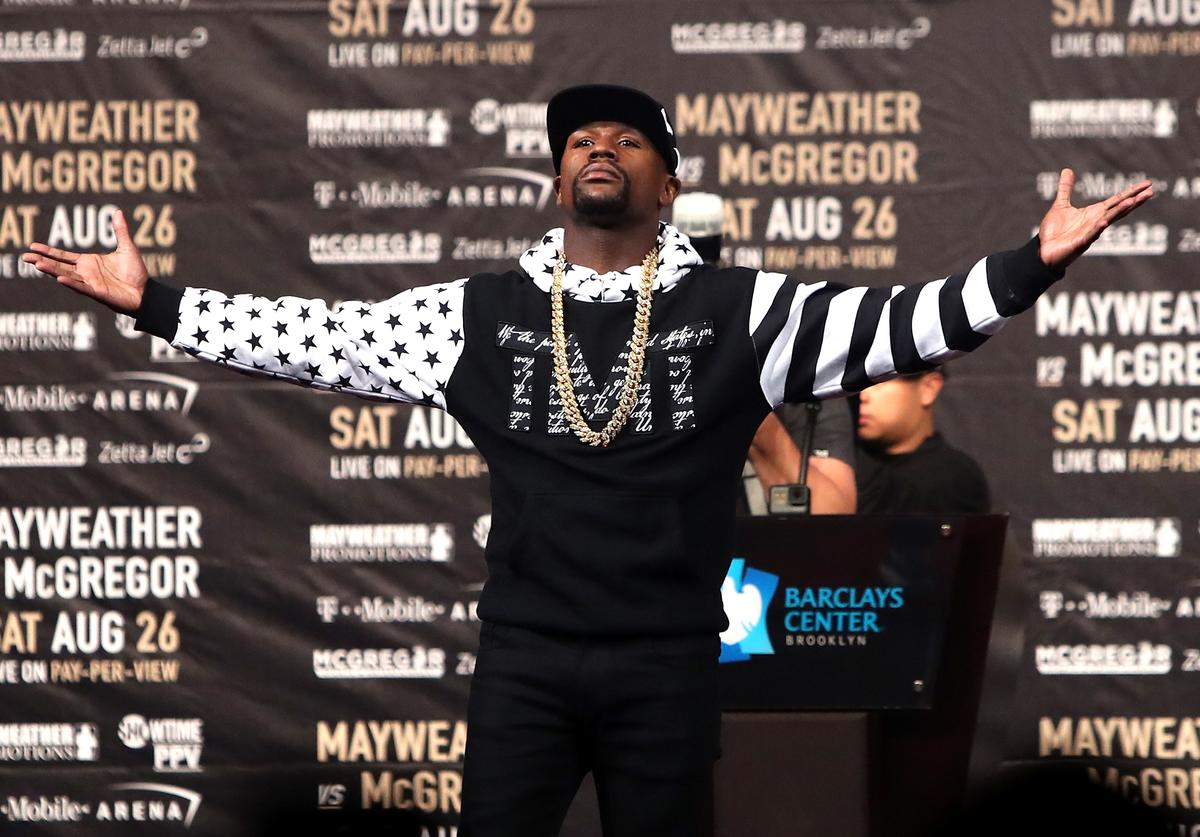 Floyd Mayweather Jr. speaks during the Floyd Mayweather Jr. v Conor McGregor World Press Tour event at Barclays Center on July 13, 2017 in the Brooklyn borough of New York City.