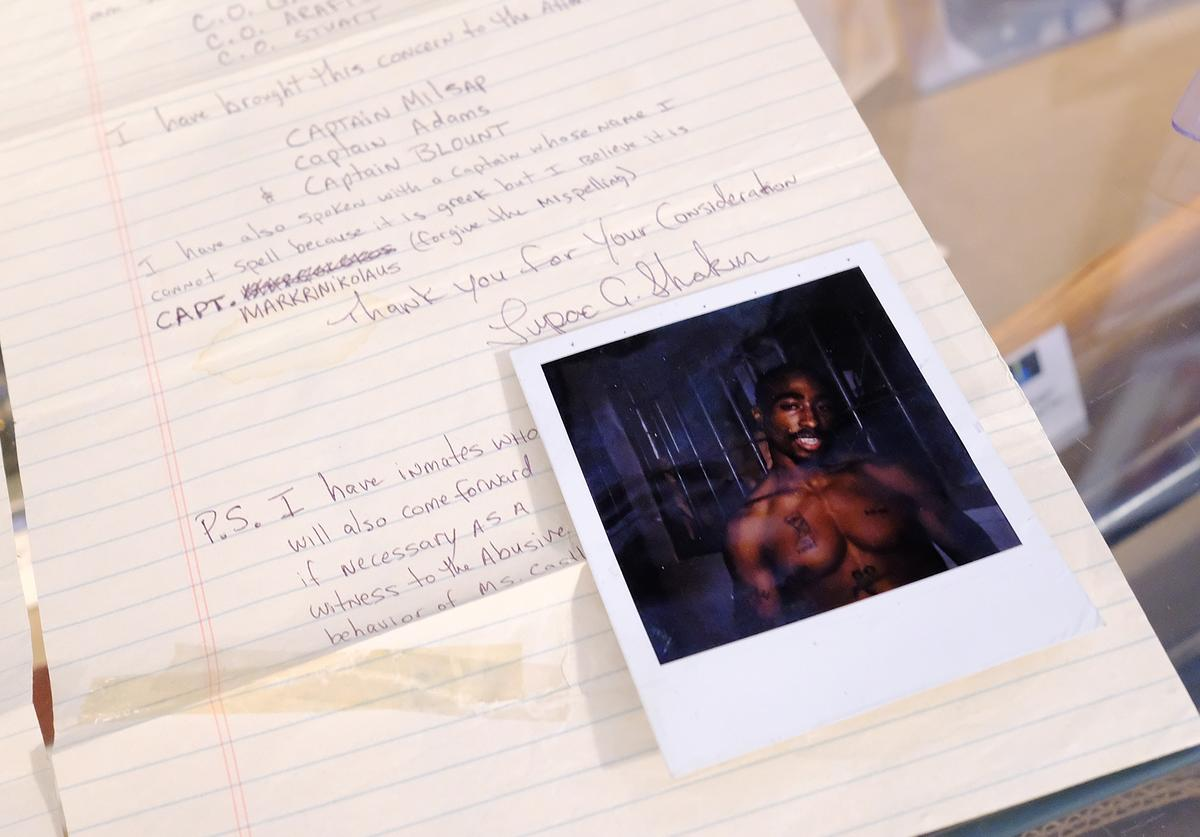 A Tupac Shakur Two-Page handwritten & signed letter from prison to the Deputy Warden of Rikers Island Prison for auction at Gotta Have It! store on July 19, 2017 in New York City