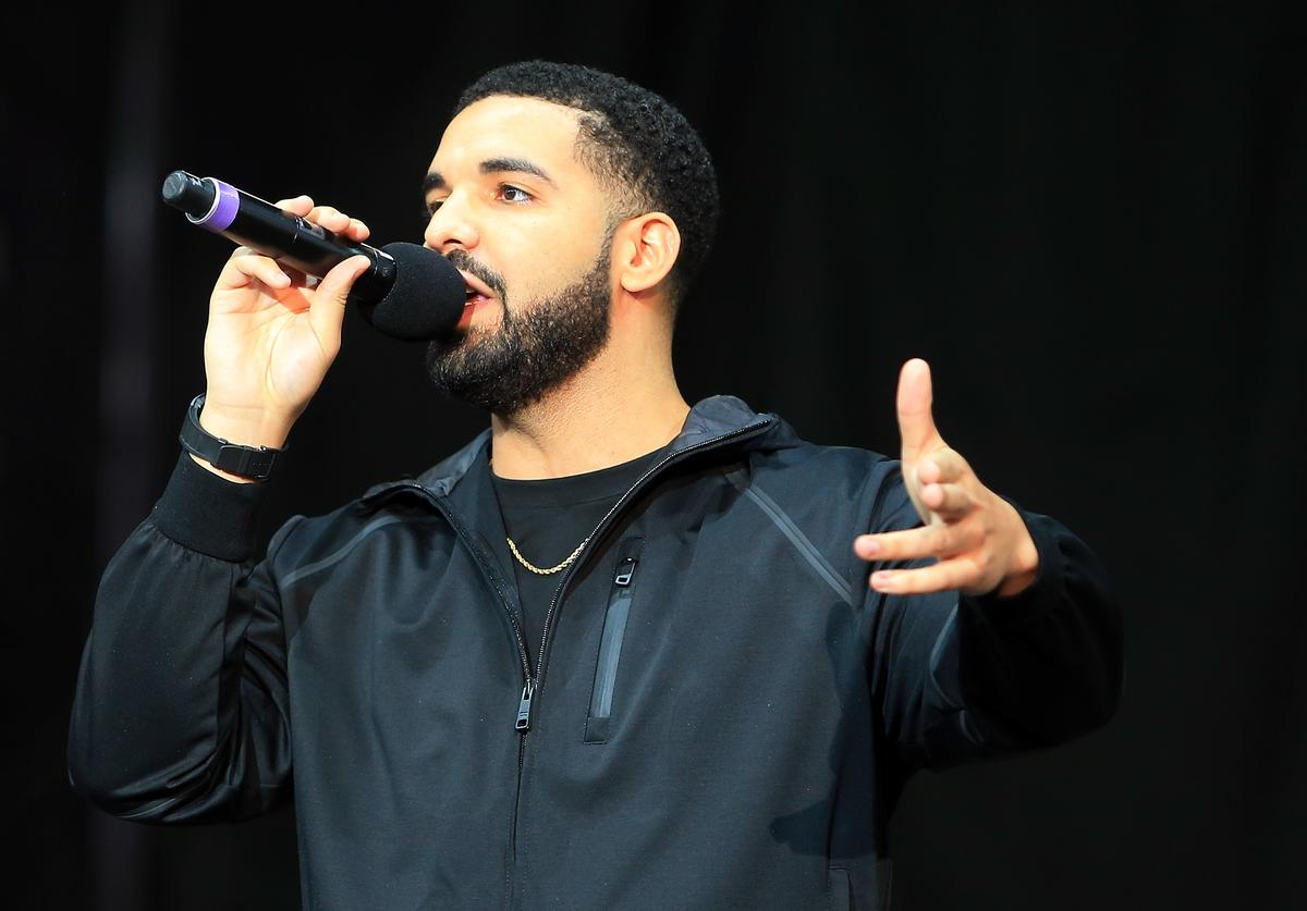 Singer Drake speaks to the crowd prior to the Floyd Mayweather Jr. v Conor McGregor World Press Tour at Budweiser Stage on July 12, 2017 in Toronto, Canada.