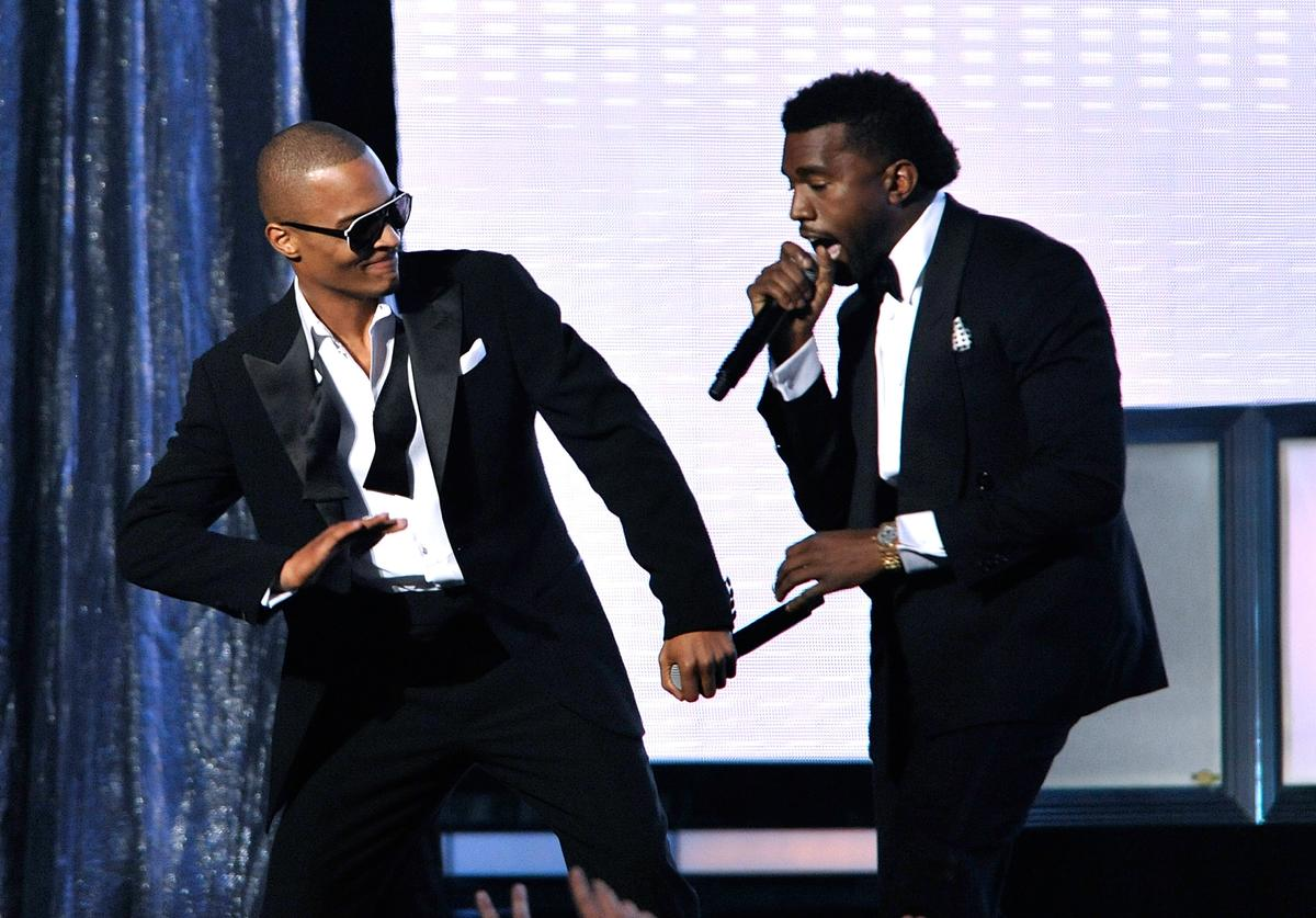 T.I. (L) and Kanye West perform during the 51st Annual Grammy Awards held at the Staples Center on February 8, 2009 in Los Angeles, California