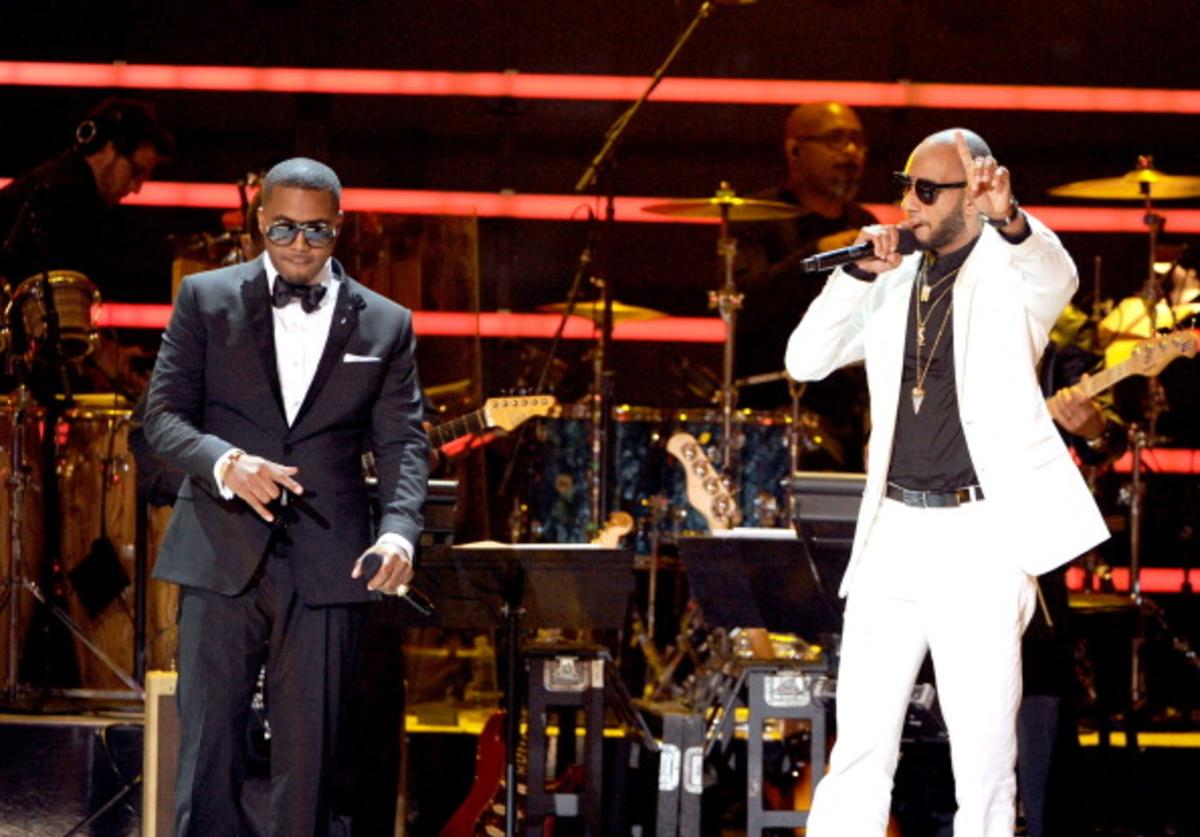 Rappers NAS (L) and Swizz Beatz perform onstage during the 2012 ESPY Awards at Nokia Theatre L.A. Live on July 11, 2012 in Los Angeles, California.
