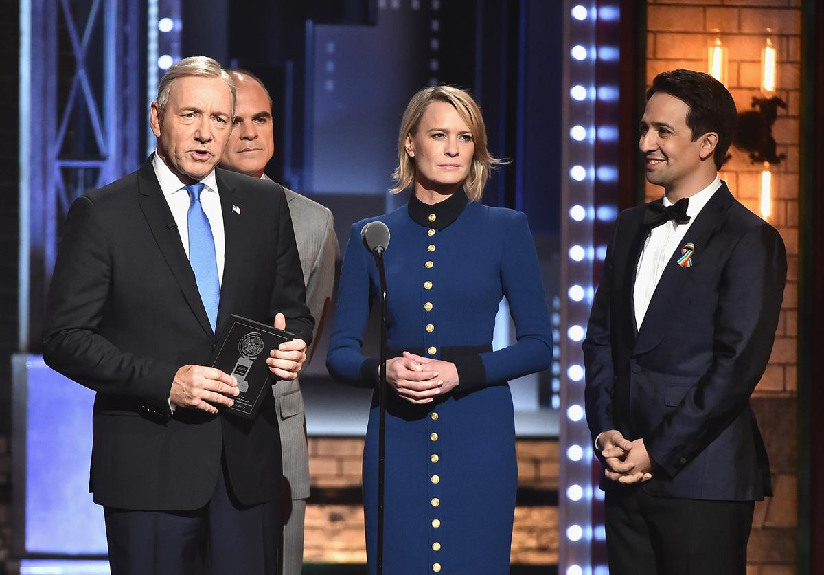 Kevin Spacey, Michael Kelly, Robin Wright, and Lin-Manuel Miranda speak onstage during the 2017 Tony Awards at Radio City Music Hall on June 11, 2017 in New York City.