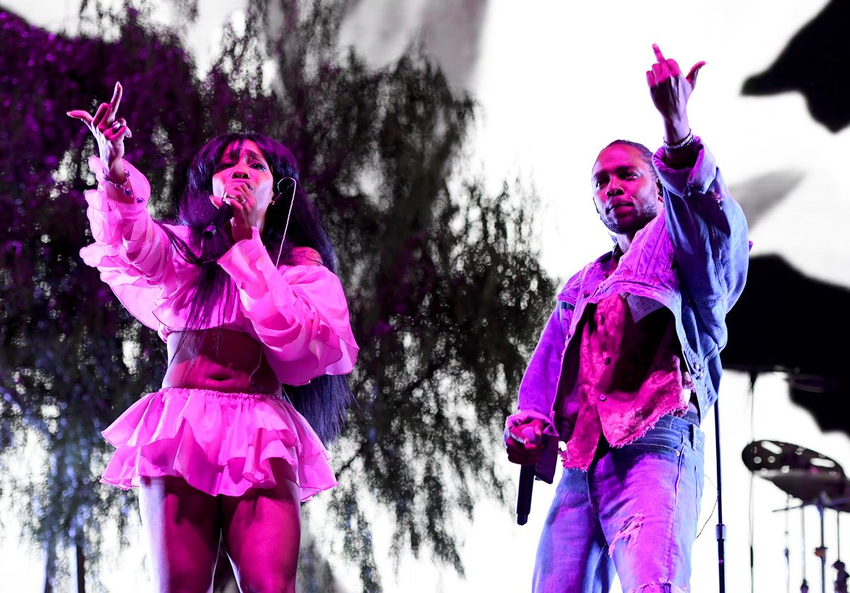 SZA and Kendrick Lamar perform onstage during the 2018 Coachella Valley Music And Arts Festival at the Empire Polo Field on April 13, 2018 in Indio, California