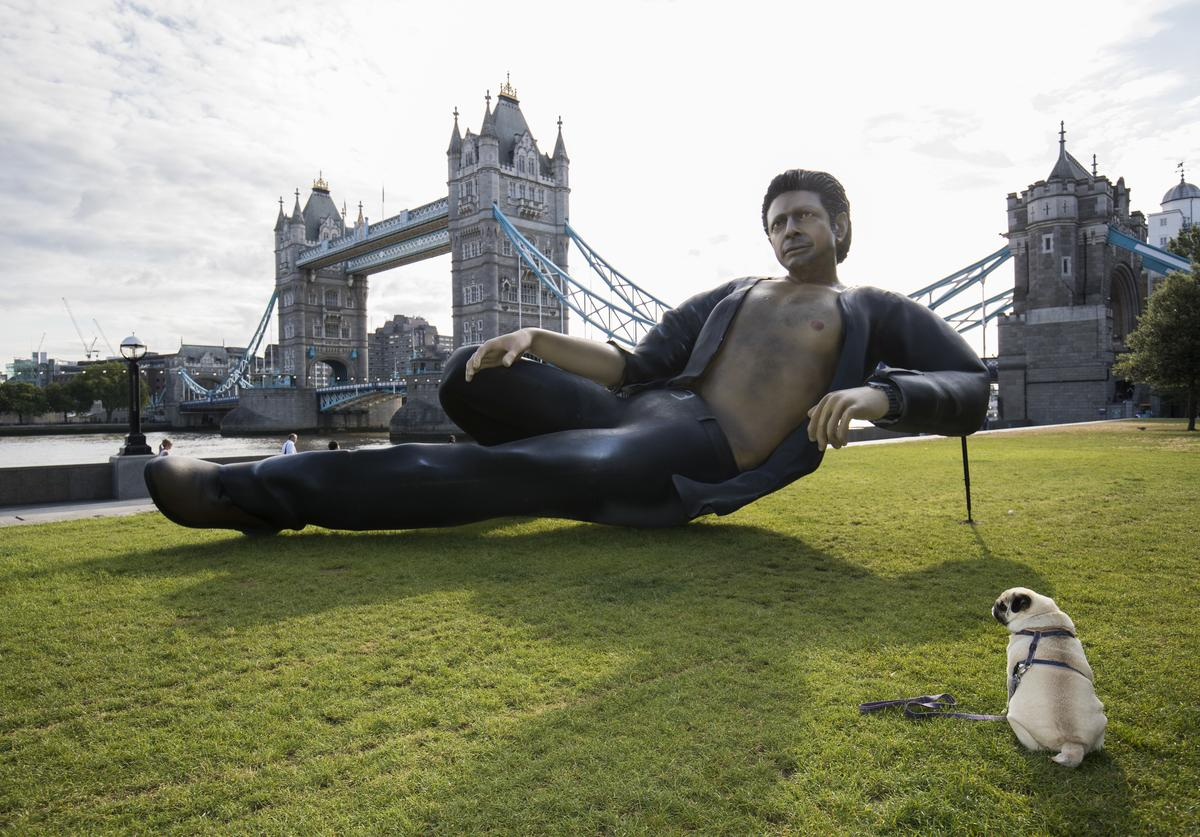 Celebrating 25 years since Jurassic Park first premiered in the UK, streaming service NOW TV unveil a statue of Jeff Goldblum semi-naked torso at Potters Field on July 18, 2018 in London, England.