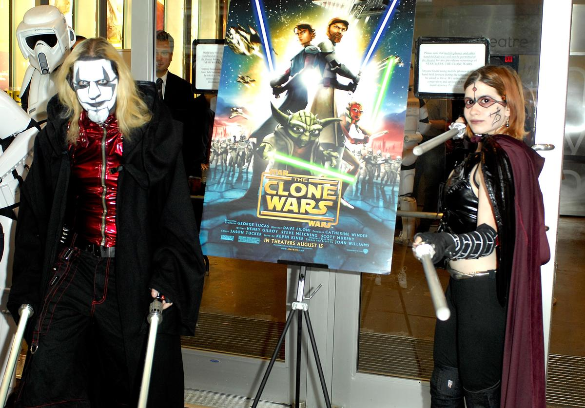 Actors portraying Star Wars: The Clone Wars characters attend the New York International Children's Film Festival special screening of 'Star Wars: The Clone Wars' at Symphony Space on August 10, 2008 in New York City.
