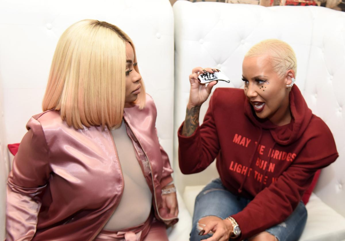 Blac Chyna and Amber Rose attend Flirt Cosmetics x Amber Rose Event on October 20, 2016 in Los Angeles, California