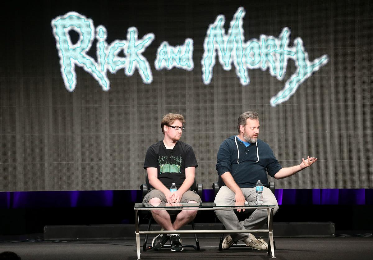 Producers Justin Roiland (L) and Dan Harmon speak onstage during the Adult Swim: Rick and Morty panel at the Turner Broadcasting portion of the 2013 Summer Television Critics Association tour at the Beverly Hilton Hotel on July 24, 2013 in Beverly Hills, California