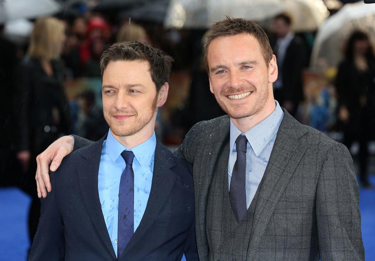 James McAvoy and Michael Fassbender attend the UK Premiere of 'X-Men: Days of Future Past' at Odeon Leicester Square on May 12, 2014 in London, England.