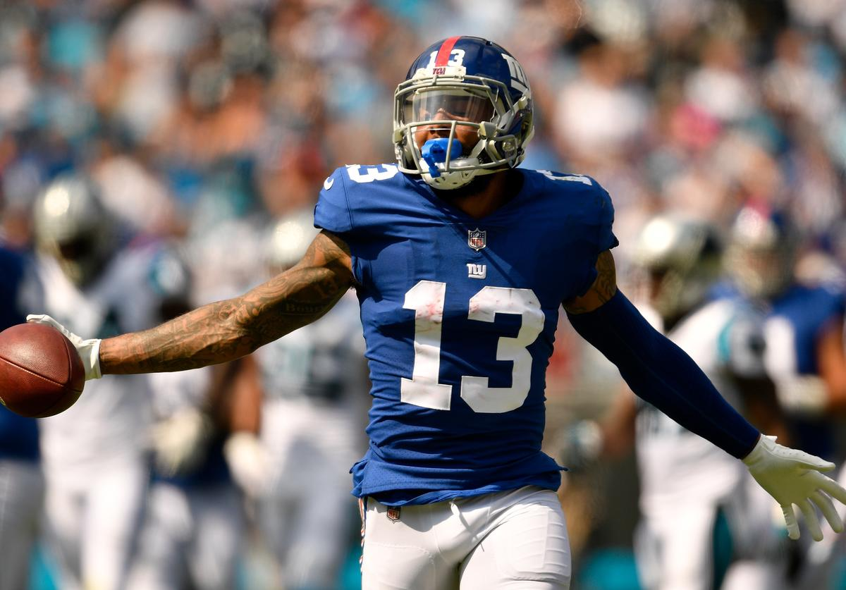 Odell Beckham Jr. #13 of the New York Giants reacts against the Carolina Panthers in the second quarter during their game at Bank of America Stadium on October 7, 2018 in Charlotte, North Carolina.