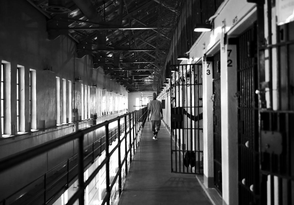 Branden Terrel walks down the hallway near his cell on June 8, 2017 in San Quentin, California. Branden Terrel was sentenced to 11 years in state prison for the 2012 stabbing death of one of his friends. In an agreement between the prosecution and defendant, Terrel pleaded guilty to voluntary manslaughter. When sentenced, Terrel requested to spend his time behind bars at San Quentin State Prison.