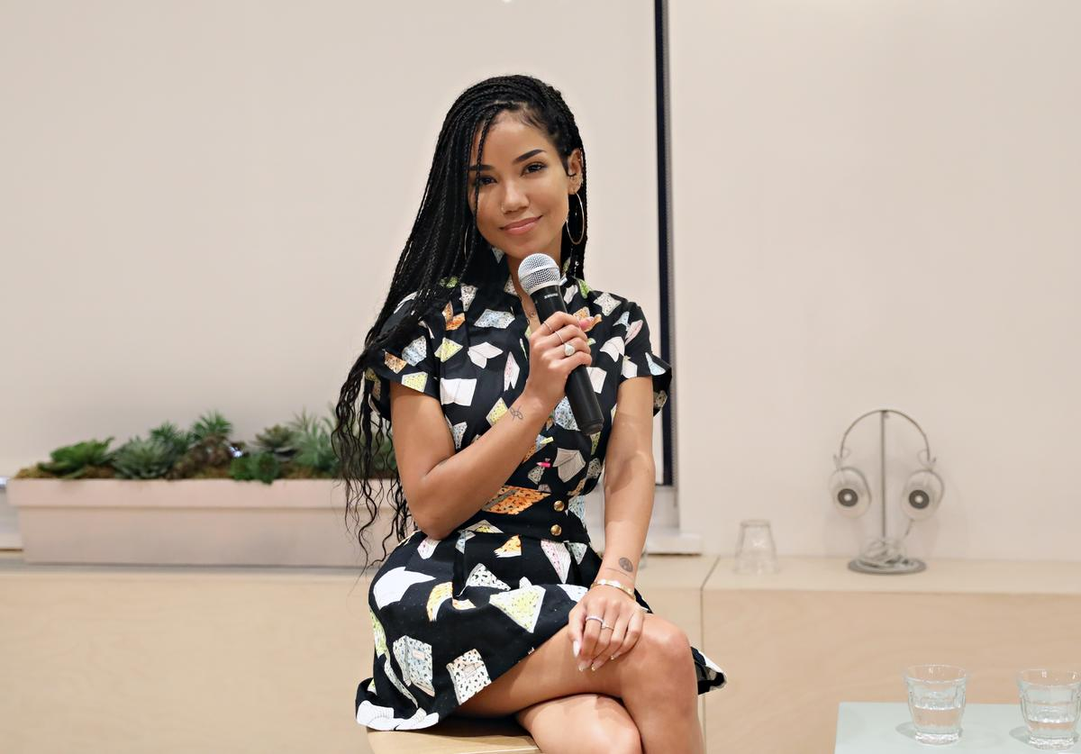 Jhene Aiko speaks during the Jhene Aiko Trip Film & 2Fish book signing on July 26, 2018 in New York City