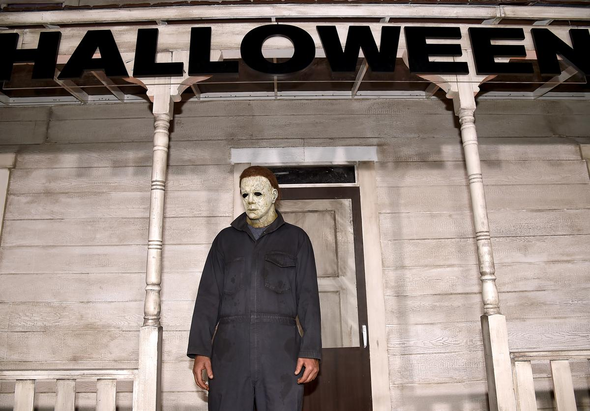 An actor dressed as the character of Michael Myers attends the Universal Pictures' 'Halloween' premiere at TCL Chinese Theatre on October 17, 2018 in Hollywood, California.