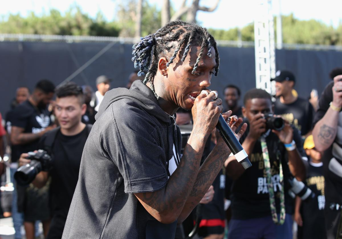 Famous Dex performs onstage at 'Imma Be a Star' Block Party at Audubon Middle School on June 24, 2018 in Los Angeles, California.