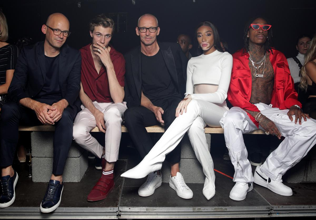 Mark Langer, Lucky Blue, Ingo Wilts, Winnie Harlow and Wiz Khalifa attend the HUGO show during the Berlin Fashion Week Spring/Summer 2019 at Motorwerk on July 5, 2018 in Berlin, Germany.