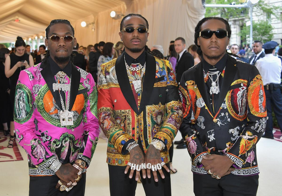 Offset, Quavo, and Takeoff of Migos attend the Heavenly Bodies: Fashion & The Catholic Imagination Costume Institute Gala at The Metropolitan Museum of Art on May 7, 2018 in New York City.