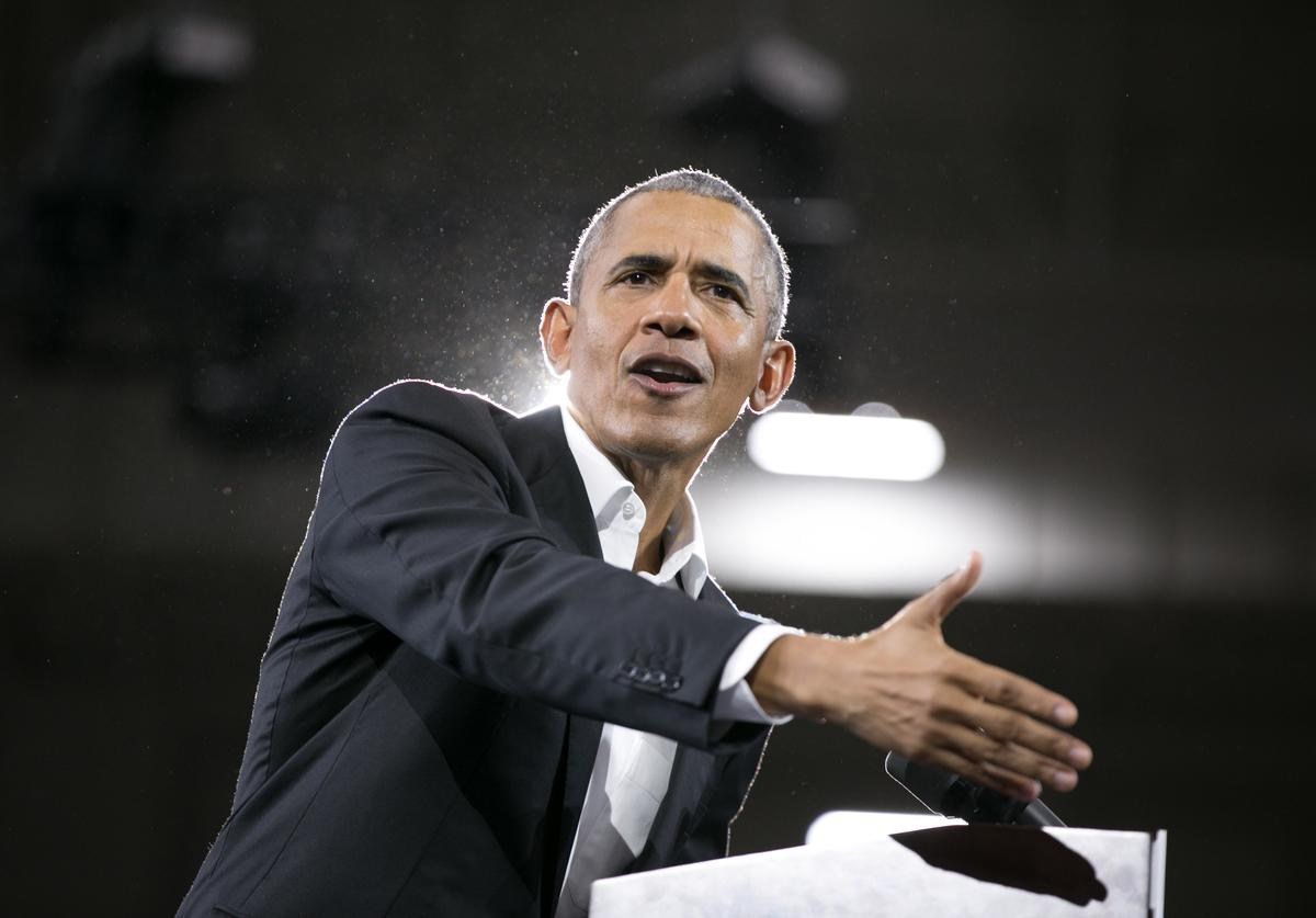 Former US President Barack Obama addresses the crowd in support of Georgia Democratic Gubernatorial candidate Stacey Abrams during a campaign rally at Morehouse College on November 2, 2018 in Atlanta, Georgia. Obama spoke in Atlanta to endorse Abrams and encourage Georgians to vote.