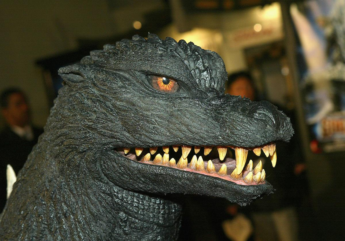 Godzilla arrives at the premiere of 'Godzilla Final Wars' at the Chinese Theatre on November 29, 2004 in Los Angeles, California.
