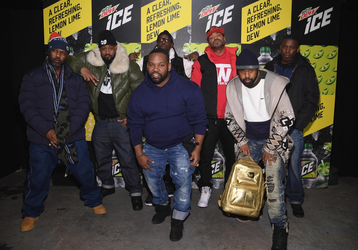 Masta Killa, Ghostface Killah, RZA, Method Man, GZA, (front) Raekwon and Cappadonna of Wu Tang Clan attends the Mtn Dew ICE launch event on January 18, 2018 in Brooklyn, New York. (