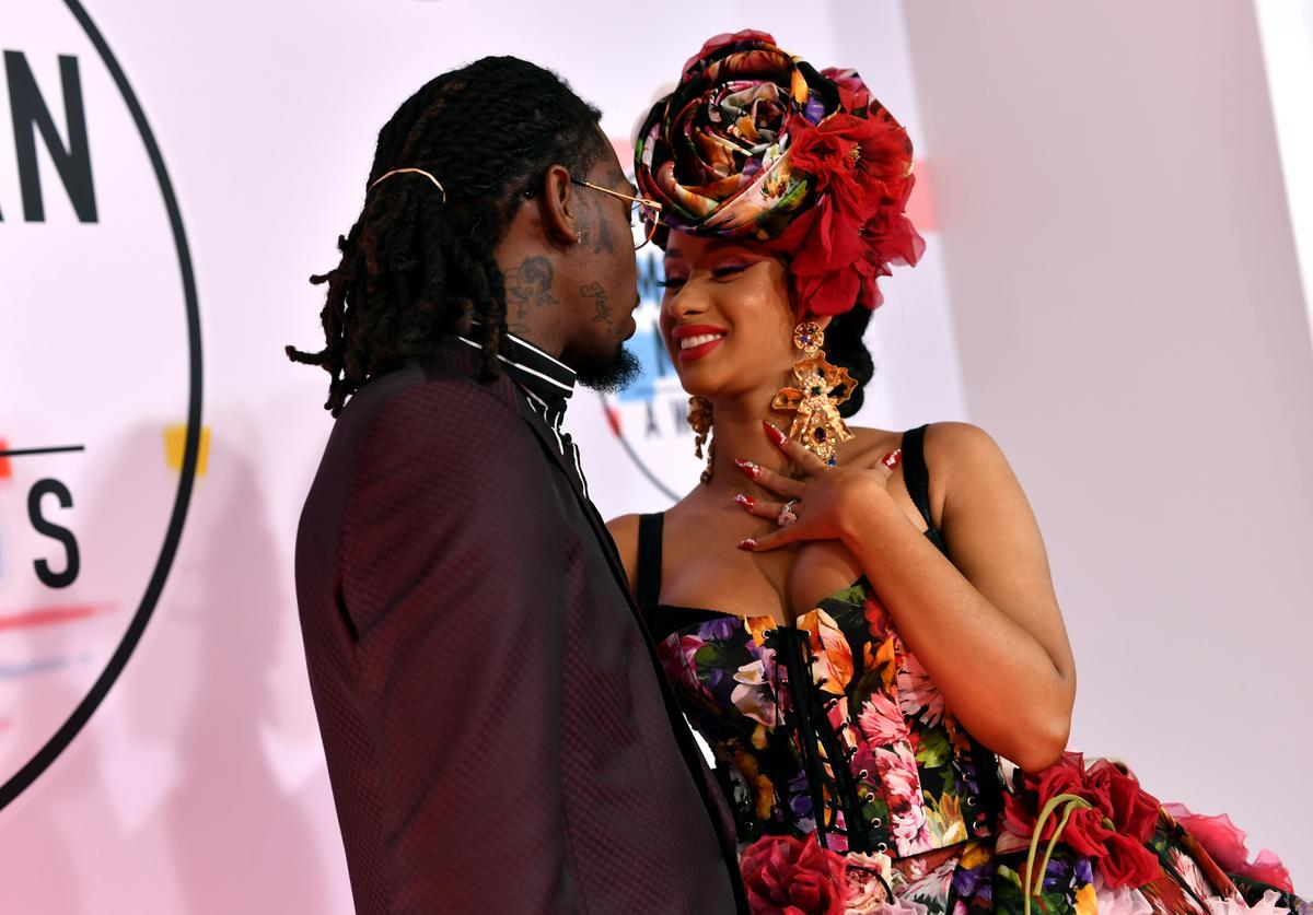 Offset (L) and Cardi B attend the 2018 American Music Awards at Microsoft Theater on October 9, 2018 in Los Angeles, California