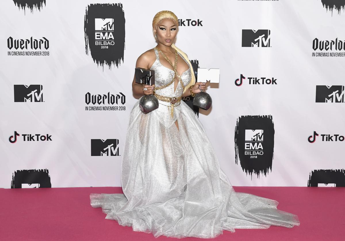 Nicki Minaj poses in the Winners room after winning Best Hip Hop Award and Best Looking Award during the MTV EMAs 2018 at Bilbao Exhibition Centre on November 4, 2018 in Bilbao, Spain.
