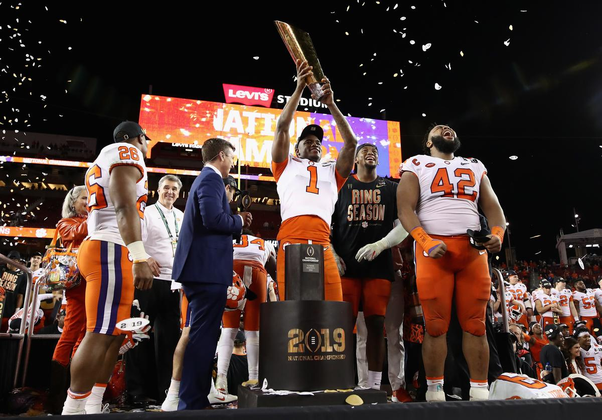 : Trayvon Mullen #1 of the Clemson Tigers celebrates his teams 44-16 win over the Alabama Crimson Tidein the CFP National Championship presented by AT&T at Levi's Stadium on January 7, 2019 in Santa Clara, California.