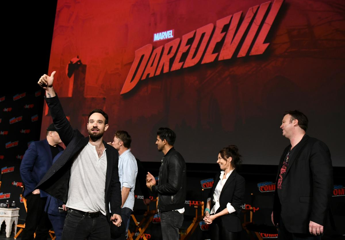 Actors Charlie Cox, Wilson Bethel, Jay Ali, Joanne Whalley and television writer Erik Oleson speak onstage at Marvel's DAREDEVIL panel during New York Comic Con at The Hulu Theater at Madison Square Garden on October 6, 2018 in New York City.