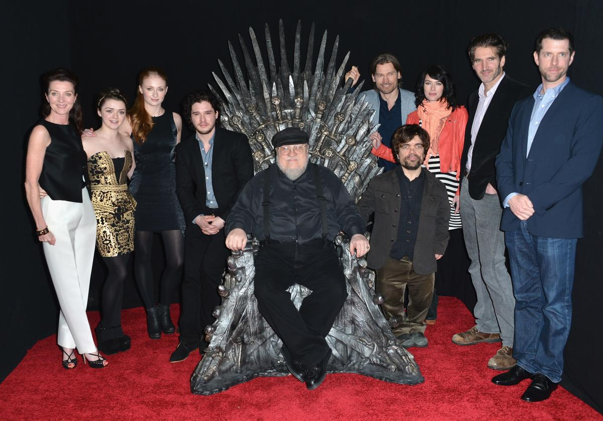 Actors Michelle Fairley, Maisie Williams, Sophie Turner, Kit Harington, executive producer George R.R. Martin, actors Nikolaj Coster-Waldau, Peter Dinklage, Lena Headey, co-creator/executive producer David Banioff and co-creator/executive producer D.B. Weiss attend The Academy of Television Arts & Sciences' Presents An Evening With 'Game of Thrones' at TCL Chinese Theatre on March 19, 2013 in Hollywood, California.