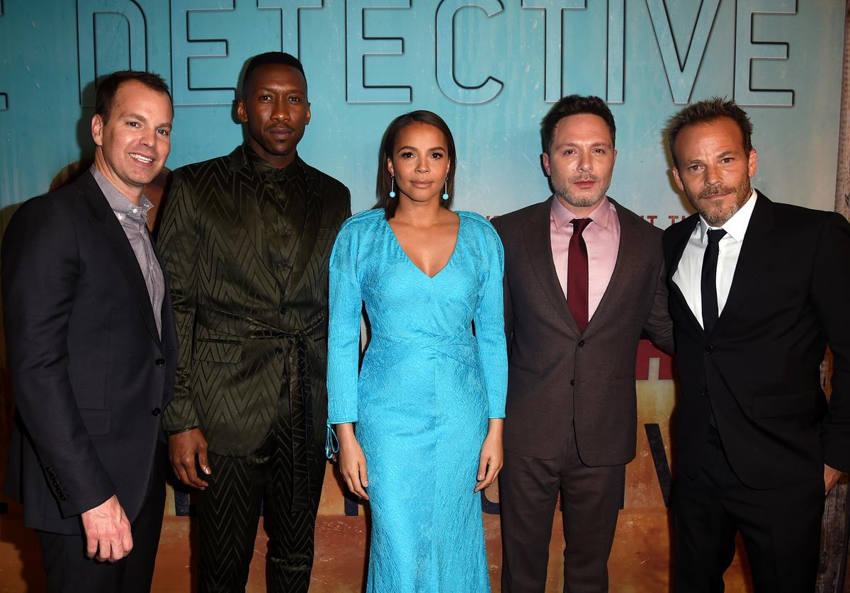 Casey Bloys, Mahershala Ali, Carmen Ejogo, Nic Pizzolatto, and Stephen Dorff attend the premiere of HBO's 'True Detective' Season 3 at Directors Guild Of America on January 10, 2019 in Los Angeles, California.