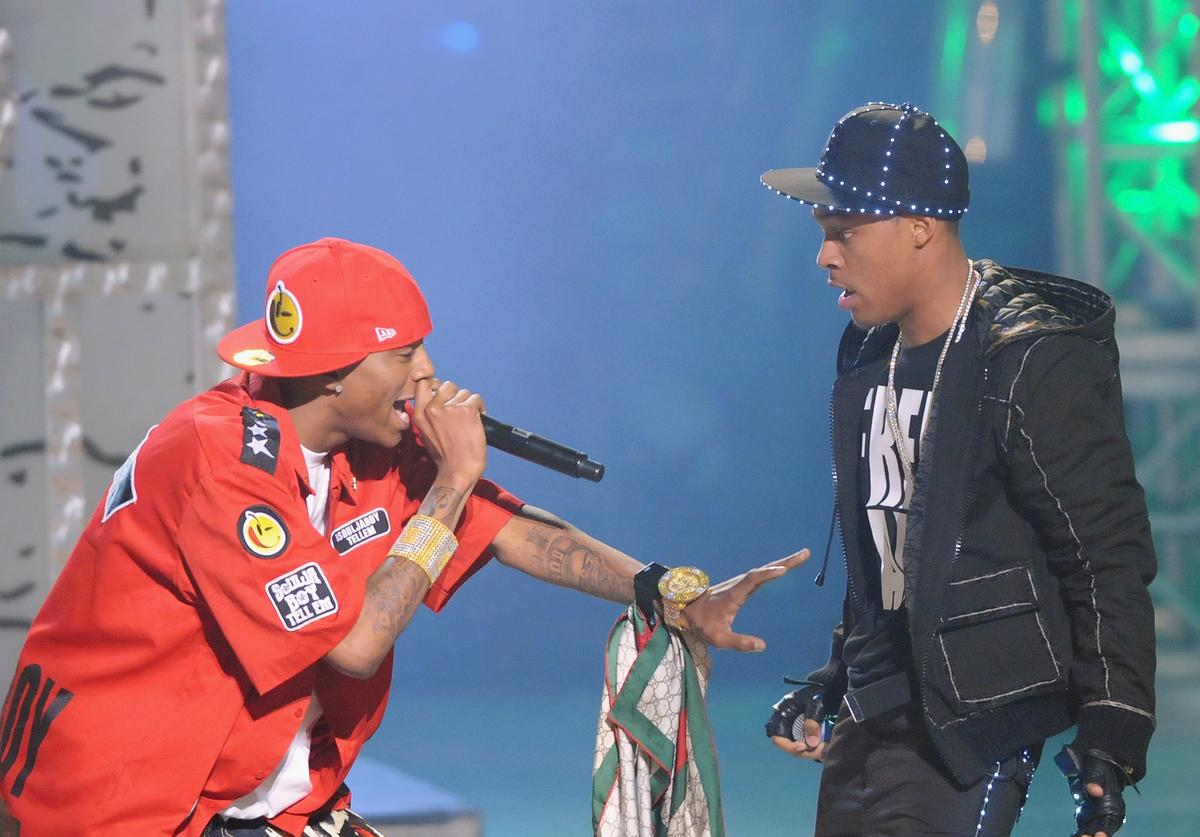 Recording artists Soulja Boy and Bow Wow perform during the 2008 BET Hip-Hop Awards at The Boisfeuillet Jones Atlanta Civic Center on October 18, 2008 in Atlanta, Georgia.
