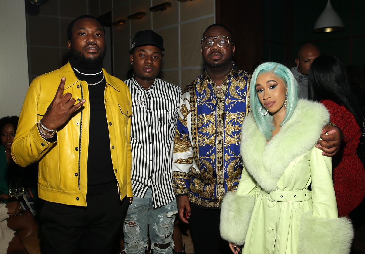 """Rapper Meek Mill, Rapper Marlo, Quality Control's Pierre """"Pee"""" Thomas and Rapper Cardi B attend the Billboard 2018 R&B Hip-Hop Power Players event at Legacy Records on September 27, 2018 in New York City."""
