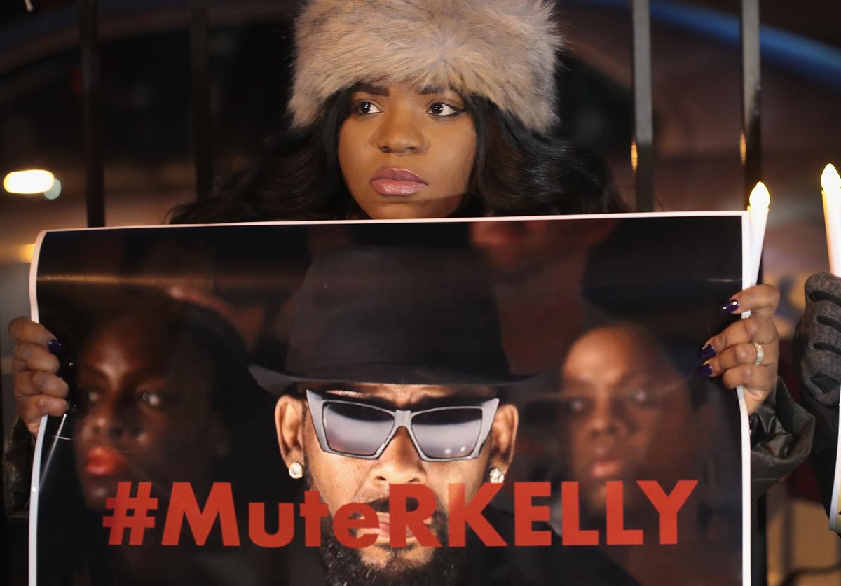 Demonstrators gather near the studio of singer R. Kelly to call for a boycott of his music after allegations of sexual abuse against young girls were raised on the highly-rated Lifetime mini-series 'Surviving R. Kelly' on January 09, 2019 in Chicago, Illinois