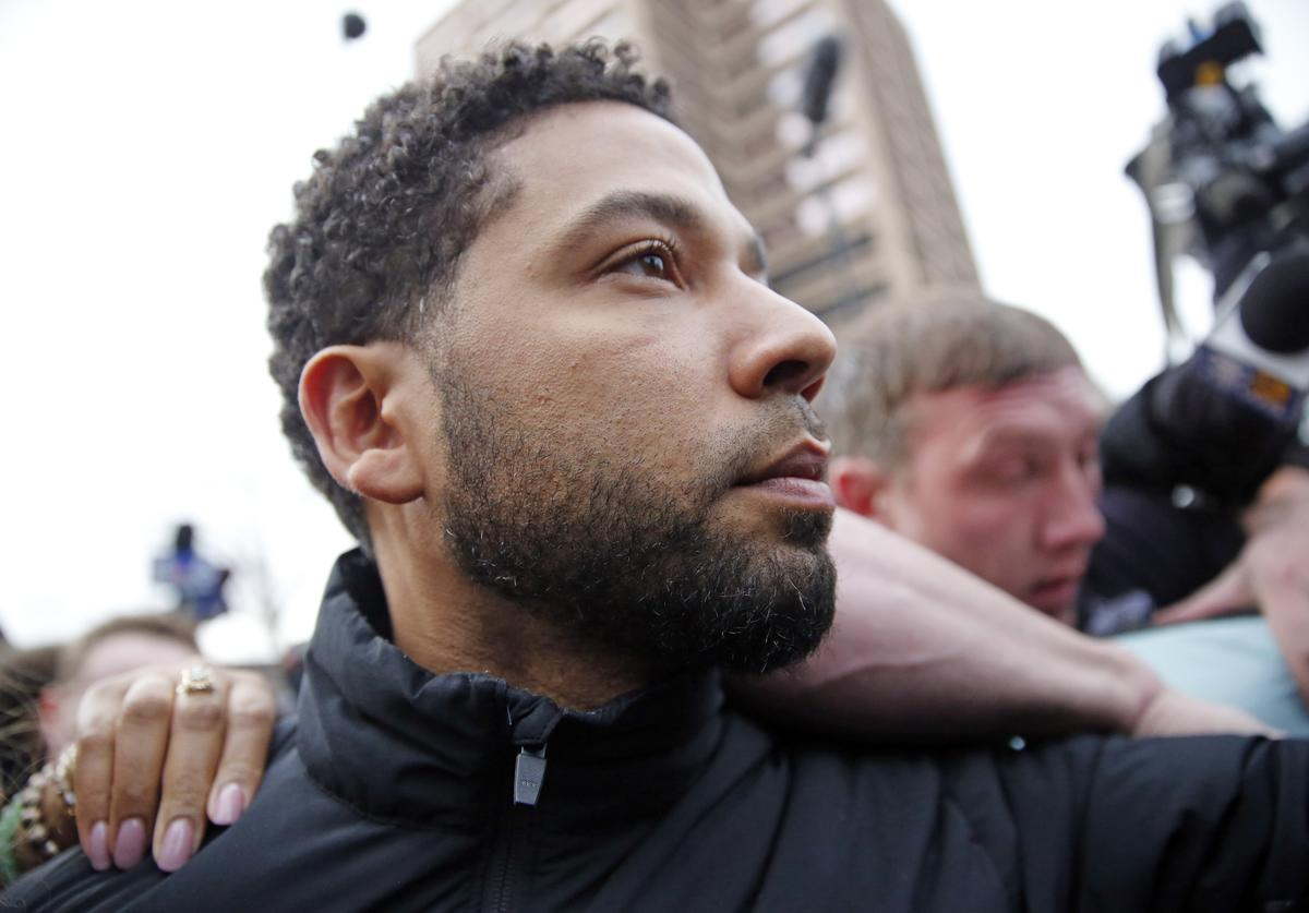 Jussie Smollett leaves Cook County jail after posting bond on February 21, 2019 in Chicago, Illinois