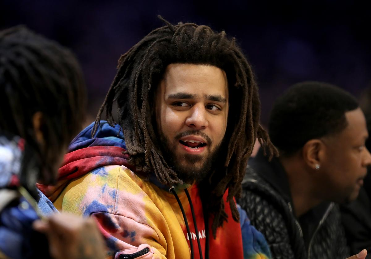 J. Cole at an NBA game