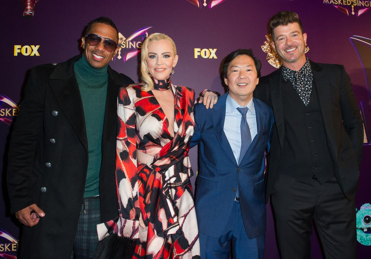 Nick Cannon, Jenny McCarthy, Ken Jeong and Robin Thicke attend Fox's 'The Masked Singer' Premiere Karaoke Event at The Peppermint Club on December 13, 2018 in Los Angeles, California
